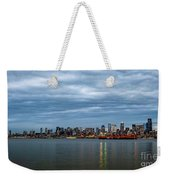 Panorama Of Seattle Skyline At Night With Storm Clouds Weekender Tote Bag