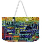 Paris Rooftops View From Centre Pompidou - Textural Impressionist Stylized Cityscape Mona Edulesco Weekender Tote Bag