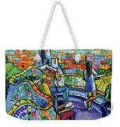 Park Guell Enchanted Visitors - Impasto Palette Knife Stylized Cityscape Weekender Tote Bag