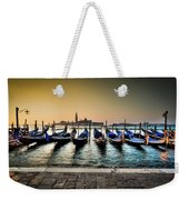 Parked Gondolas, Early Morning In Venice, Italy.  Weekender Tote Bag