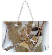 Peaceful Winter Chickadee  Weekender Tote Bag