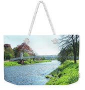 pedestrian bridge over river Tweed at Peebles Weekender Tote Bag