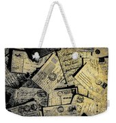 Piled Paper Postcards Weekender Tote Bag