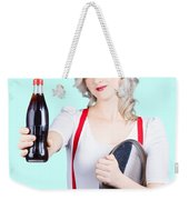 Pin-up Girl Holding Soft Drink Bottle Weekender Tote Bag