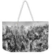 Pinsapos Into The Woods. Bw. Foggy Sunrise Weekender Tote Bag