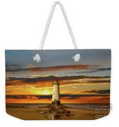 Point Of Ayr Lighthouse Sunset Weekender Tote Bag by Adrian Evans