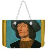 Portrait Of A Man With A Pink Weekender Tote Bag