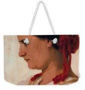 Portrait Of Angela B Cklin In Red Fishnet Weekender Tote Bag