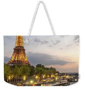 Portrait View Of The Eiffel Tower At Night With Wine Glass In The Foreground Weekender Tote Bag