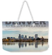 Poster Of Downtown Denver At Dusk Reflected On Water Weekender Tote Bag