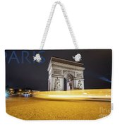 Poster Of The Arch De Triumph With The Eiffel Tower In The Picture Weekender Tote Bag