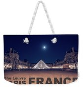 Poster Of  The Louvre Museum At Night With Moon Above The Pyrami Weekender Tote Bag