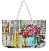 Potted Roses With Candle Weekender Tote Bag