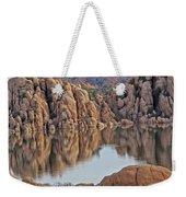 Prescott Arizona Watson Lake Hill Rcoks Water Sky Clouds 3 122019 4865 Weekender Tote Bag