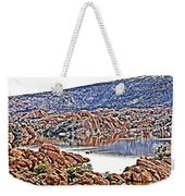 Prescott Arizona Watson Lake Rocks, Hills Water Sky Clouds 3122019 4867 Weekender Tote Bag
