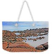 Prescott Arizona Watson Lake Rocks, Hills Water Sky Clouds 3122019 4870 Weekender Tote Bag