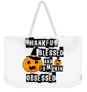 Pumpkin Obsessed Halloween Jackolantern Witch Hat Light Weekender Tote Bag