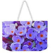 Purple Flowers In The Morning Dew Weekender Tote Bag