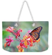 Queen Butterfly On Mexican Bird Of Paradise  Weekender Tote Bag