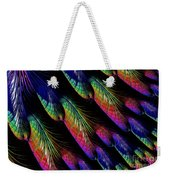 Rainbow Colored Peacock Tail Feathers Fractal Abstract Weekender Tote Bag by Rose Santuci-Sofranko