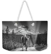 Rear View Of A Sasquatch Hitchhiking Weekender Tote Bag