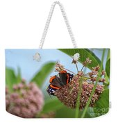 Red Admiral Butterfly On Milkweed Weekender Tote Bag