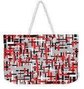 Red Black White Geometric Weekender Tote Bag