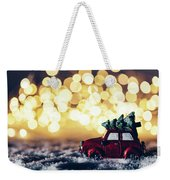 Red Car With Christmas Tree Driving Through Snow Weekender Tote Bag