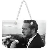 Reflecting, Paul Newman, Movie Star, Cruising Venice, Enjoying A Cuban Cigar, Black And White Weekender Tote Bag