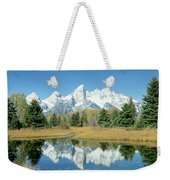 Reflection Of Mountains In Water, Grand Weekender Tote Bag