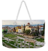 Remains Of The Roman Agora And Cityscape Of  Athens, Greece Weekender Tote Bag