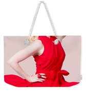 Retro Blond Pinup Woman Wearing A Red Dress Weekender Tote Bag