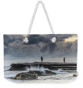 Rock Ledge, Spear Fishermen And Cloudy Seascape Weekender Tote Bag