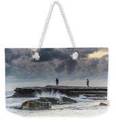 Rock Ledge, Spear Fishermen And Cloudy Seascape Weekender Tote Bag