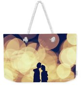 Romantic Couple Kissing On Illuminated Background. Weekender Tote Bag