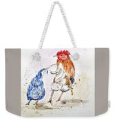 Rooster Butts Weekender Tote Bag by Clyde J Kell