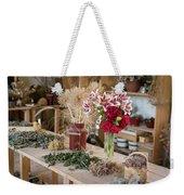 Rustic Wooden Table With Various Herbs And Flowers Weekender Tote Bag