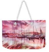 Sailboat Reflections At Sunrise Abstract Weekender Tote Bag