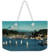 Sailboats At Gig Harbor Marina With Mount Rainier In The Background Weekender Tote Bag