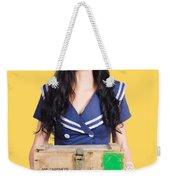 Sailor Pin Up Holding Nautical Supplies Weekender Tote Bag