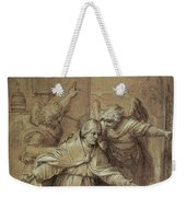 Saint Gregory Praying For Souls In Purgatory  Weekender Tote Bag