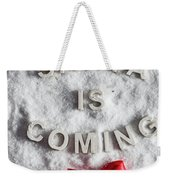 Santa Is Coming Writing And A Red Bow Weekender Tote Bag