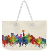 Seattle Skyline Watercolor Weekender Tote Bag