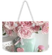 Shabby Chic Pink Roses In Aqua Mason Jar Romantic Cottage Floral Print Home Decor Weekender Tote Bag