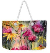 Shiny Rudbeckia And Thistle Weekender Tote Bag
