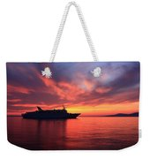 Ship At Mykonos Bay Mykonos Cyclades Greece  Weekender Tote Bag