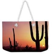 Silhouette Of Saguaro Cacti Carnegiea Weekender Tote Bag