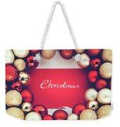 Silver Christmas Writing And Christmas Glass Balls. Weekender Tote Bag