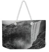 Skogafoss Iceland Black And White Weekender Tote Bag by Nathan Bush