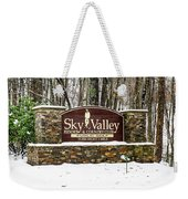 Sky Valley Georgia Welcome Sign In The Snow Weekender Tote Bag